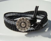 Black and Gray Beaded Leather Wrap Bracelet with Daisy Button