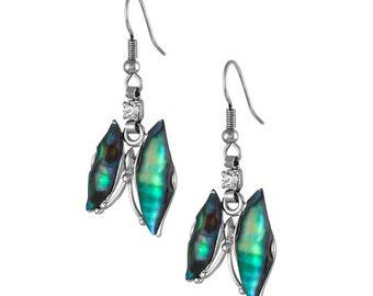 Mother of Pearl Butterfly Design Colorful Dark Green Shell Hook Dangle Eardrop Earrings