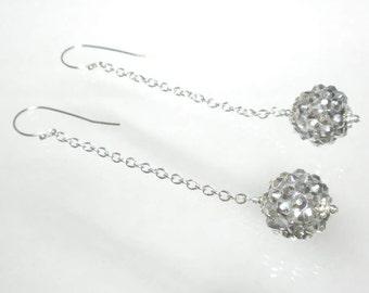 Silver Ball Earring, Disco Ball Earrings, Long Chain Earring