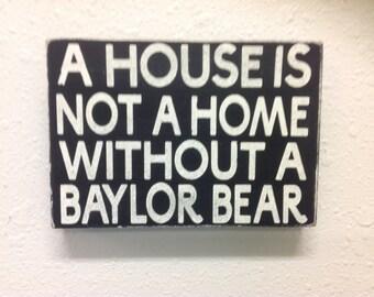 Baylor bear wall decor shelf sitter primitive sign