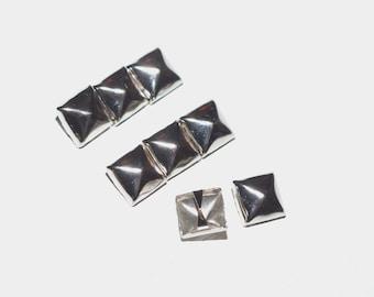 8 Silver Rocker Punk Pyramid Claw Studs
