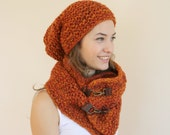 Handknit Wool Terra-Cotta Scarf And  Hat Warm set For Women For My Mom  perfect Mothers days Gift