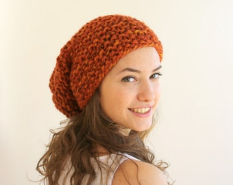 Terra-Cotta Brick  Wool  Hat Beanie Mothers Day Gift For Her