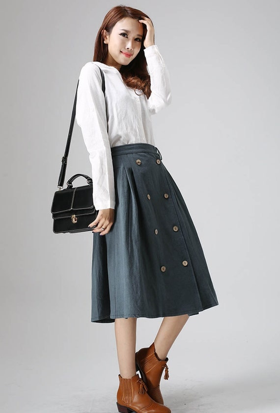 Midi skirt, Casual linen dress woman Midi skirt with button detail  (823)