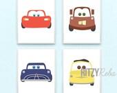 Disney Cars Wall Art Nursery Boys Wall Decor SET OF 4 PRINTS - Tow Mater, Lightning McQueen, Doc Hudson, Guido