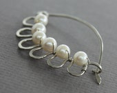 German silver shawl pin, scarf pin in laced flower with wrapped round white fresh water pearls