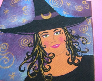 Good Witch Selena, Tiny Witch Painting on stretched Canvas