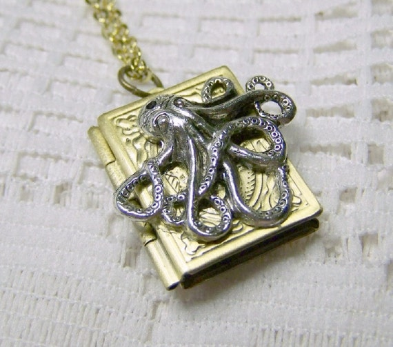 Steampunk OCTOPUS Book Locket Silver & Antiqued Bronze - Kraken locket