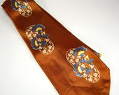 Bronze Copper Brown Men's Necktie, Floral Print, Cohoma California Swagger, Mid Century Men's Fashion, Gifts Under 20