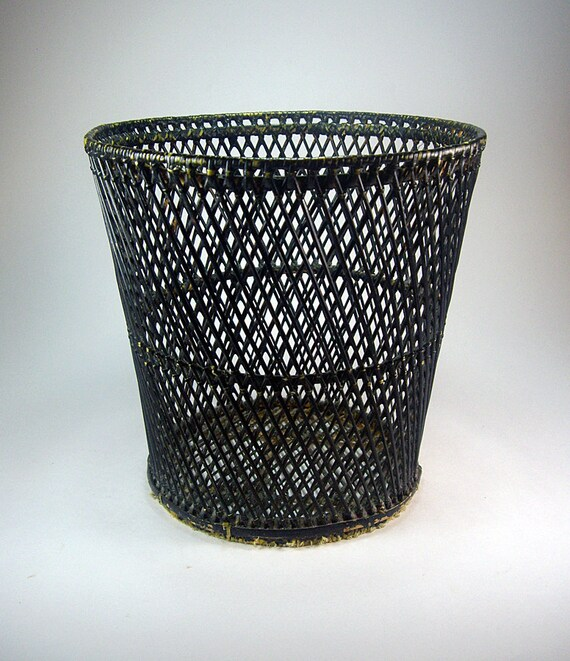 Vintage black wicker waste paper basket home decor noir - Wicker trash basket ...