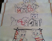 Five Vintage Hand Embroidered Days of the week Kitchen Towels