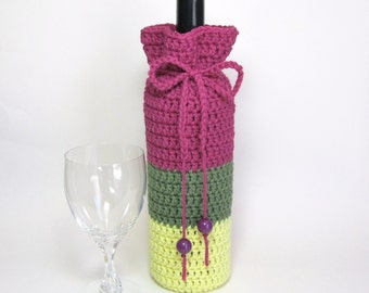 Wine Cozy Bottle Gift Sack Champagne Sweater Magenta Olive Green Sunny Yellow Color Block Reusable Crochet by Lilena Hostess Gift