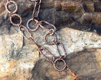Copper Chain Link Necklace with Turquoise Beads - - CBD-N2025