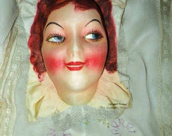 Antique 1920s Boudoir Flapper Doll Face Composition Paper Mache Red Head Rosey Cheeks Pillow Purse