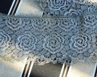 Antique Art Deco Silver Metallic Lace Floral Scalloped Dress restoration Antique Supplies 1920