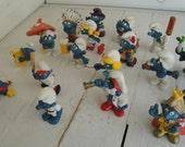RESERVED CRICKET Smurf Only Smurf Figures Vintage Lot of 18 1974- 1981