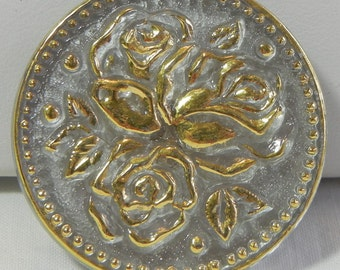 Larger Three Roses Czech Glass Button
