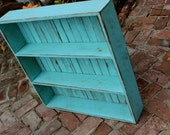 Wooden Shelf - Furniture - Cabinet - Storage - Kitchen, Bath, Home Decor 26 x 26 x 5.5 - Robins Egg Blue