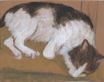 Snuggle - Kitty - Mixed Media Painting from the Artist's Cat Series