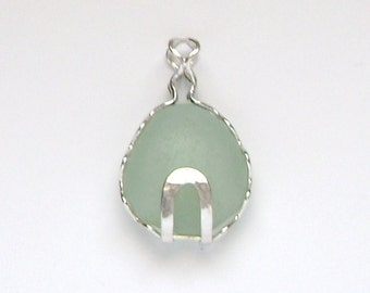 Sea Glass Jewelry - Sterling Caged Pale Green Sea Glass Pendant