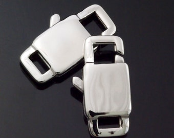1 Stainless Steel Lobster Clasp - Unique Square Style - Sturdy and Shiny - Extra Large 22mm X 11mm - 100% Guarantee