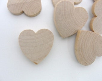 """12 Wooden hearts 1 1/4 inch (1.25"""") wide 1/4 inch thick unfinished wood hearts diy"""