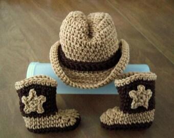 COWBOY baby Hat & Boots, brown Newborn to 3 months crochet PHOTO PROP Custom boy girl