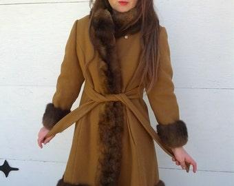 Sale Fabulous Vintage 70s Brown Cashmere Wool Princess Skater Lamb Fur Coat Size Large