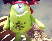 Pirate stuffed animal, monster plush, little green pirate