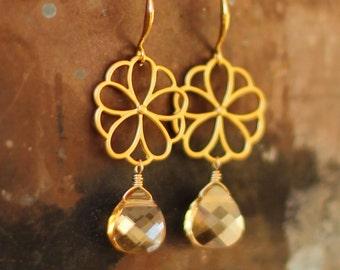 Golden Shadow Flower Earrings