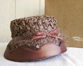 Vintage 1950's Taupe Woven Sunday's Best Bonnet Hat and Hat Box