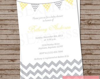 Yellow and Gray Chevron Bunting Banner Baby Shower Invitation