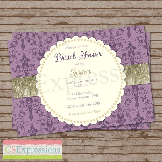 damask purple and gold baby or bridal shower invitation