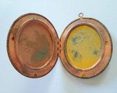 CLEARANCE **** Vintage Oxidized Brass Metal Oval Locket 38mm x 46mm