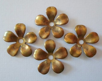 Vintage Oxidized Brass Flower Findings 17mm