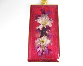 Purples and Pinks, Pressed Flower Pendant, Real Flower Jewelry(1368)