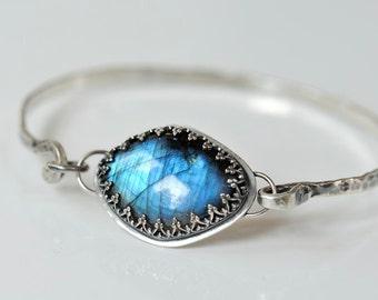 Labradorite bracelet sterling silver - latch bracelet with blue flash labradorite