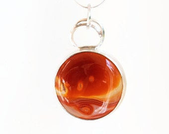 Planet pendant Jupiter, red agate planet necklace, sterling silver