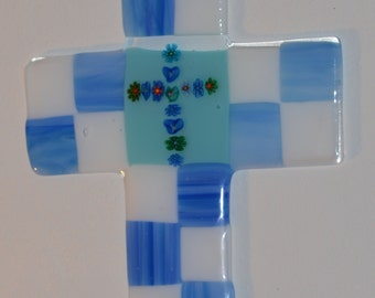Fused Glass Art, Large Glass Cross, 12 x 7. Beautiful and Unique.