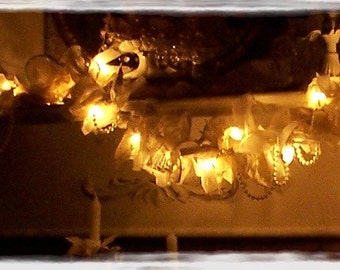 Christmas White Winter Wonderland Garland Tattered Lace lighted ribbon French Nordic Shabby