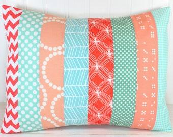 Pillow Cover, Unisex Nursery Decor, Boy or Girl Room, Throw Pillow, 12 x 16 Inches, Nursery Pillow Cover, Mint Green, Peach, Chevron, Dots
