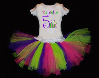 Personalized Hot pink, lime and purple birthday tutu set featuring her age, name, and a yummy sprinkled cupcake! Free Shipping in the US