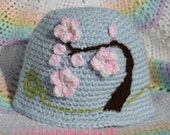 Cherry Blossoms Hat --- newborn --- 0 - 3 months