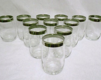 Vintage set of 12  Roly Poly  Oval Silver Rimmed Lowball Glasses Mad Men Chic