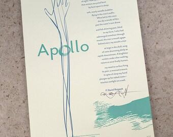 """Letterpress Poetry Broadside — """"Apollo"""" — poet F. Daniel Rzicznek, art & design by Jim Cokas"""