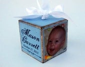 Personalized Baby's First Christmas Photo Block Ornament in Blue