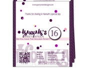 Birthday Party Candy Wrappers/Candy Wrappers/Hershey Candy Bar Wrappers/Party Wrappers/Chocolate Bar Wrappers/foil included