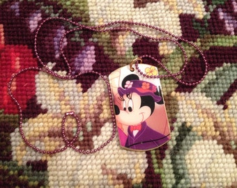 Disney's Minnie Mouse as Mary Poppins Silver Dog Tag Necklace
