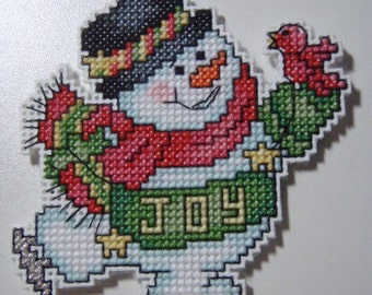 Cross Stitched SNOWMAN  No. 1 CHRISTMAS ORNAMENT