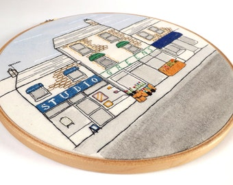 Penarth, South Wales Traditional Seaside Town Embroidered Shop Fronts - Framed Textile Illustration, 10 Inch Wooden Embroidery Hoop